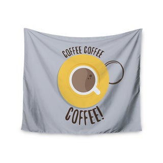 KESS InHouse Jackie Rose 'Coffee!' Grey Yellow 51x60-inch Tapestry