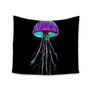 KESS InHouse Ivan Joh 'Night Of Jellyfish' Black Purple 51x60-inch Tapestry
