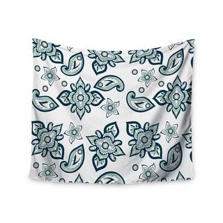 KESS InHouse Gukuuki 'Batik Paisley' Teal White 51x60-inch Tapestry