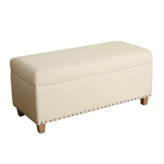 HomePop Lauren Storage Bench Natural Linen