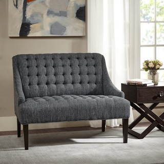 Madison Park Bernay Charcoal Button Tufted Settee