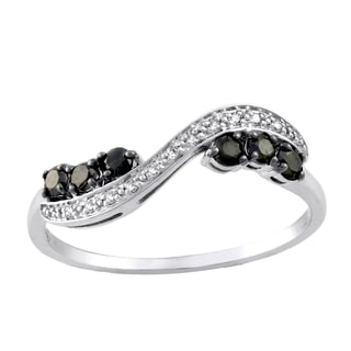 10k White Gold 1/3ct TDW Black and White Diamond Band Ring