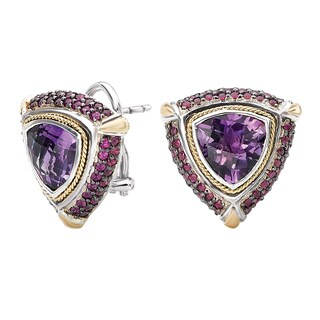 Avanti Sterling Silver and 18k Yellow Gold Ruby and Amethyst Trillion Shape Earrings