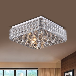 Gisela Contemporary Chrome Finish Square Flush Mount Crystal Chandelier