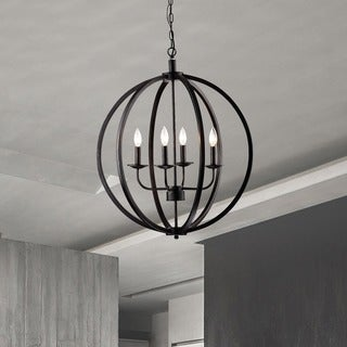 Benita Antique Black Metal Orb Chandelier with 4 Lights