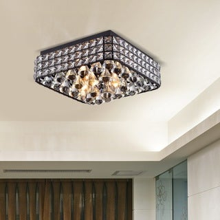 Gisela Antique Black Iron/Metal/Crystal Contemporary Square Flush Mount Chandelier