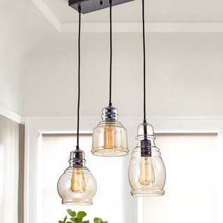 Buy halogen pendant lighting online at overstock our best clay alder home wilson antique black cognac glass cluster 3 light pendant aloadofball Images