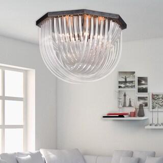 Samanta Antique Black Overlapping Curved Glass 6-light Flush Mount Chandelier