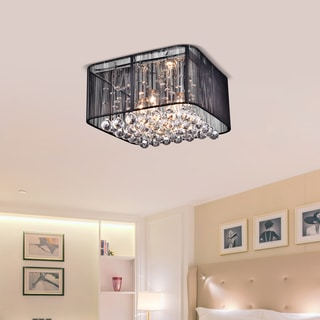 Rosana Chrome and Black Crystal Flushmount 4-light Chandelier