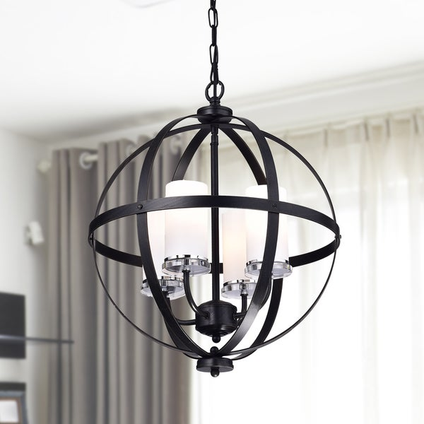 Benita Antique Black Iron Orb Chandelier With Glass Globe by The Lighting Store