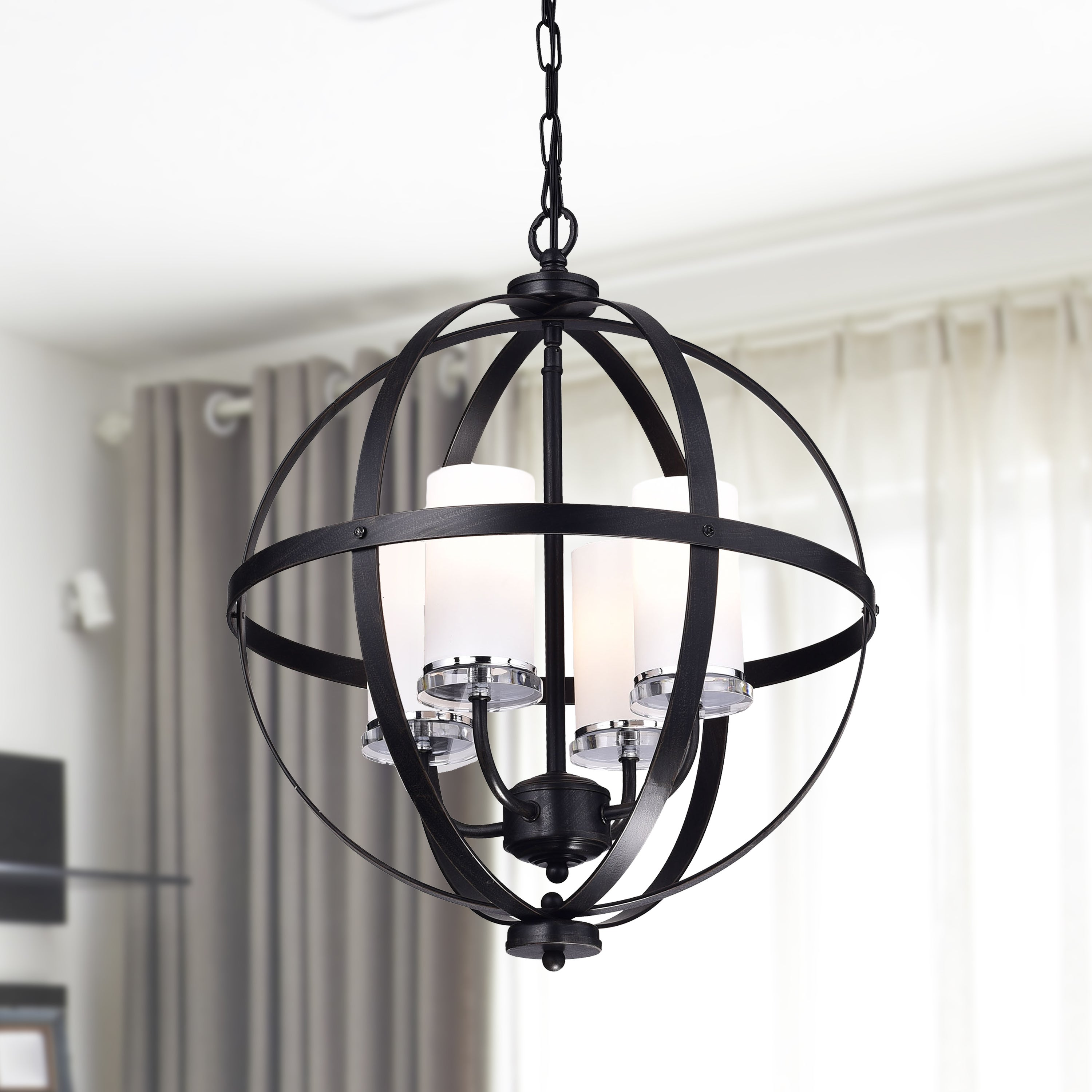 Benita Antique Black Iron Orb Chandelier With Glass Globe