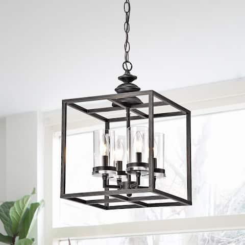 The Gray Barn 4-light Antique Black Lantern Chandelier Glass Cylinders