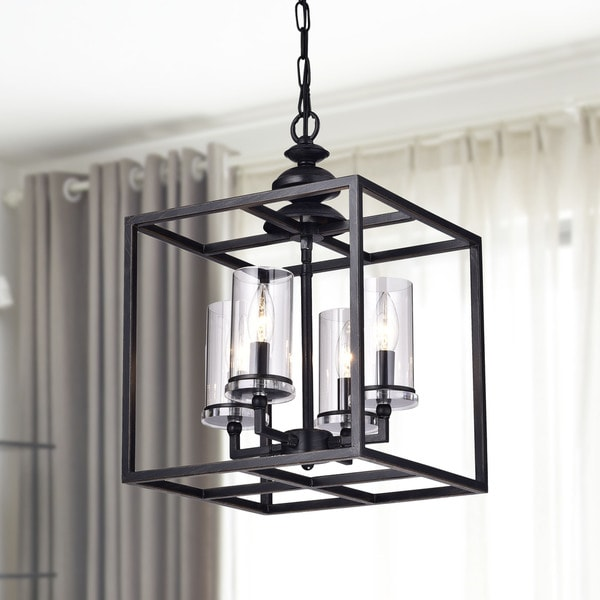 La Pedriza 4 light Antique Black Lantern Chandelier with