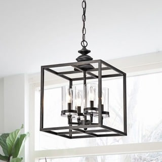 La Pedriza 4-light Antique Black Lantern Chandelier with Clear Glass Cylinders
