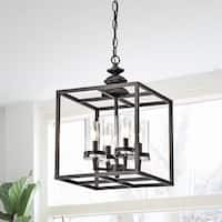 The Gray Barn 4-light Antique Black Lantern Chandelier Glass Cylinders