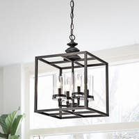 Clay Alder Home Verrarzano 4-light Antique Black Lantern Chandelier with Clear Glass Cylinders