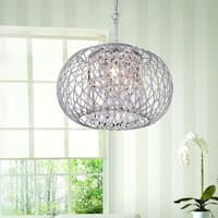 Yanira Shiny Silver Ironwork Crystal Pendant Chandelier