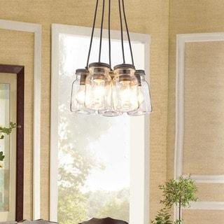 Belinda Antique Black Iron/Clear Glass 5-light Canning Jar Pendant Chandelier