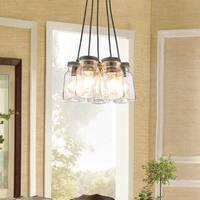 Maison Rouge Hinsey Antique Black Iron/Clear Glass 5-light Canning Jar Pendant Chandelier