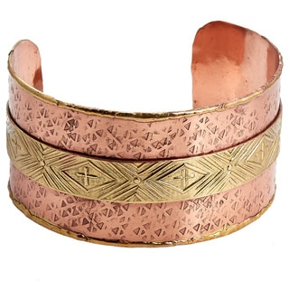 Handcrafted Two-tone Copper and Brass Embossed Cuff Bracelet (India)
