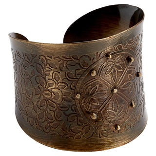 Handcrafted Bronze Embossed Lotus Blossom Cuff Bracelets (India)