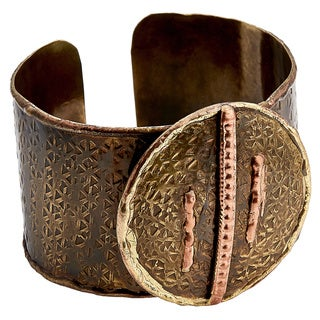 Handcrafted Mixed Metals Bronze Copper Lines Cuff Bracelets (India)