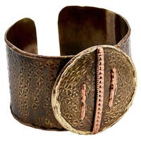 Handmade Mixed Metals Bronze Copper Lines Cuff Bracelets (India)