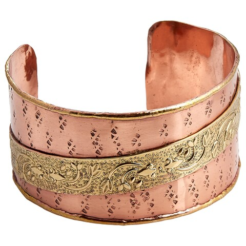 Handmade Two-tone Floral Embossed Ribbon Cuff Bracelet (India)