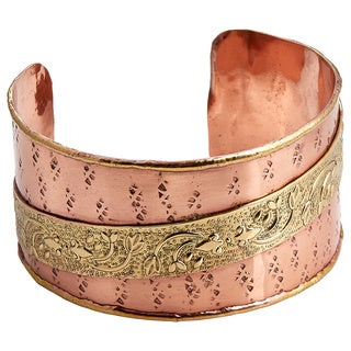 Handcrafted Two-tone Floral Embossed Ribbon Cuff Bracelet (India)