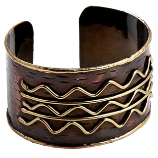 Handcrafted Brass Wavy Lines Antique Copper Cuff Bracelets (India)
