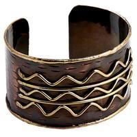 Handmade Brass Wavy Lines Antique Copper Cuff Bracelets (India)