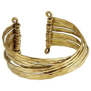 Handmade Textured Brass Cross Over Multi-strand Cuff Bracelet (India)