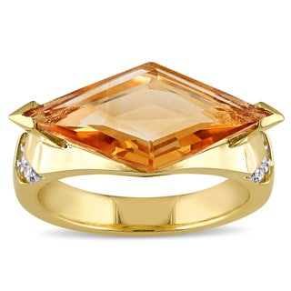 V1969 ITALIA Citrine and White Sapphire Prism Ring in 18k Yellow Gold Plated Sterling Silver