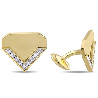 V1969 Italia White Sapphire Logomark Cufflinks In Yellow Gold Plated Sterling Silver