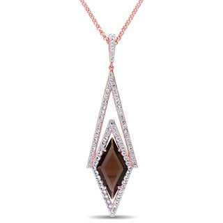 V1969 ITALIA White Sapphire and Smokey Quartz Prism Necklace in 18k Rose Gold Plated Sterling Silver