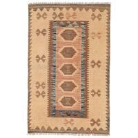Herat Oriental Afghan Hand-woven Wool Mimana Kilim (2'7 x 4'1) - 2'7 x 4'1