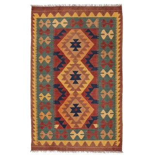Herat Oriental Afghan Hand-woven Wool Mimana Kilim (2'6 x 4')