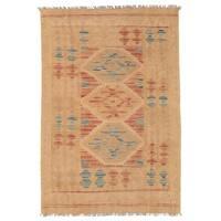 Herat Oriental Afghan Hand-woven Wool Mimana Kilim (2'7 x 3'11)