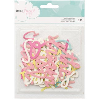 Dear Lizzy Happy Place Die-Cuts 12/Pkg Cardstock & Watercolor Phrases