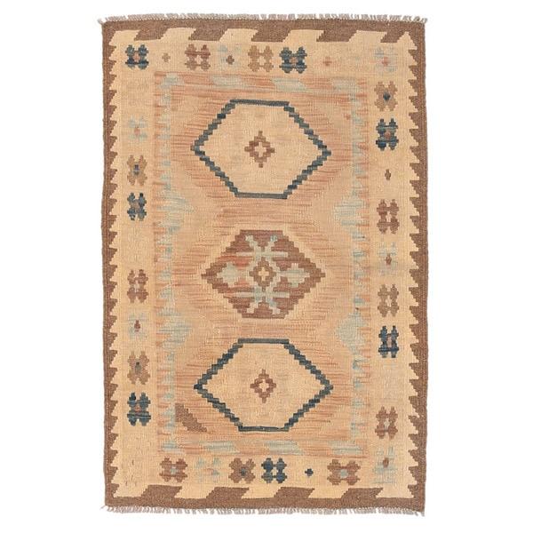 Handmade Herat Oriental Afghan Wool Mimana Kilim (Afghanistan) - 2'8 x 4'2