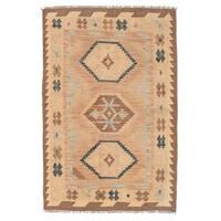 Herat Oriental Afghan Hand-woven Wool Mimana Kilim (2'8 x 4'2) - 2'8 x 4'2