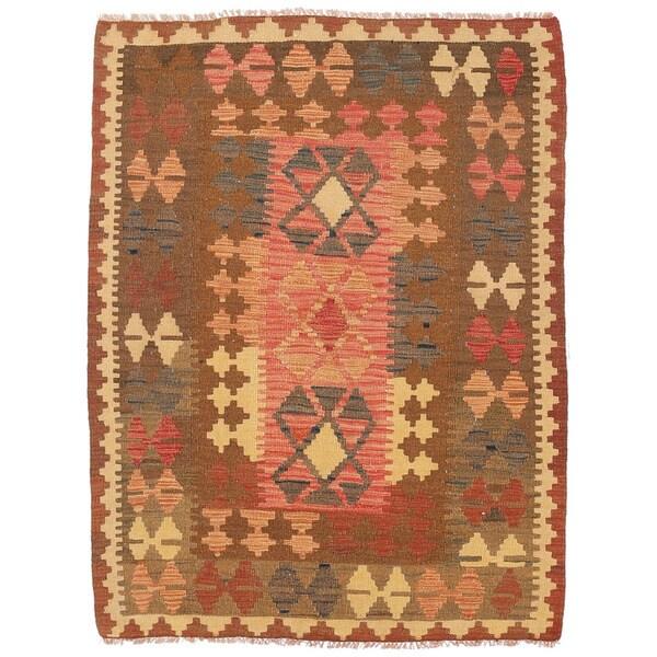 Herat Oriental Afghan Hand-woven Wool Mimana Kilim (3'5 x 4'7)