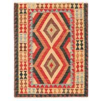 Handmade Herat Oriental Afghan Wool Mimana Kilim (Afghanistan) - 3'3 x 4'3