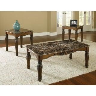 Bernards Brown Pine, Veneer Coffee Table 3-piece Set