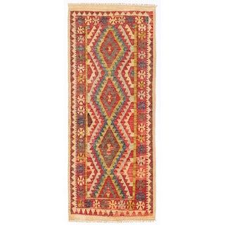 Herat Oriental Afghan Hand-woven Wool Mimana Kilim Runner (2'6 x 6')