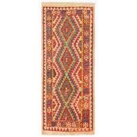 Herat Oriental Afghan Hand-woven Wool Mimana Kilim Runner (2'6 x 6') - 2'6 x 6'