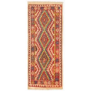 Handmade Herat Oriental Afghan Wool Mimana Kilim Runner - 2'6 x 6' (Afghanistan)