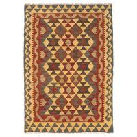 Herat Oriental Afghan Hand-woven Wool Mimana Kilim (2'7 x 3'9) - 2'7 x 3'9