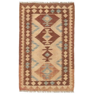 Herat Oriental Afghan Hand-woven Wool Mimana Kilim (2'8 x 4'2)
