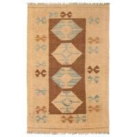 Herat Oriental Afghan Hand-woven Wool Mimana Kilim (2'7 x 4') - 2'7 x 4'